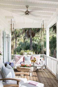 Florida Beach Cottage - Porch Swing White Porch Swing Beach house Porch Swing B. - Florida Beach Cottage – Porch Swing White Porch Swing Beach house Porch Swing Beach house Porch S - Porche Chalet, Blue Shutters, Rustic Shutters, Farmhouse Shutters, Repurposed Shutters, Diy Shutters, Cottage Porch, Cottage House, Coastal Cottage