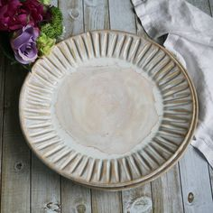 Dinnerware Pair of Extra Large Dinner Plates in Creamy White Glaze Stoneware Handcrafted Carved Dishes Made in USA & Rustic White and Ocher Stoneware Dinnerware Set of Four Dinner ...