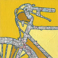Bike Madison Wisconsin vintage bicycle art by OffTheMapArt on Etsy, $17.00