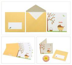 birth announcement card Jula | sweet | beautiful envelope design | pattern | apples | stroller | butterfly | yellow | geboortekaartje