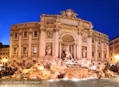 The Trevi Fountain at night, Rome, Italy.