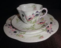 SHELLEY England Fine Bone China Wind Flowers Trio - Cup Saucer & 8  Plate