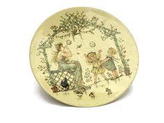 Franse antieke kwekerij wandplaat. Sarreguemines kinderen