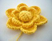 Hand Crochet  Mohair Cotton Corsage Brooch Applique Yellow Flower