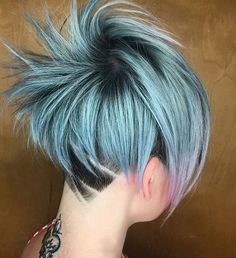 Here it is :) ... by @presleypoe using @pravana #behindthechair #girlswithundercuts #shearetching #pastelhair #pixie