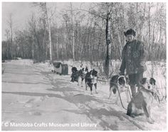 """Photograph of Eric Berman with dog sled team. Jacket he is wearing is in MCML collection and was featured in the """"Just A Needle and Thread"""" Exhibition. Information on back of photograph: H. Eric Bergman / 1893 - 1958 / Fisher Branch, Manitoba / c. Museum Collection, Sled, Needle And Thread, Fisher, Stamps, Photograph, Embroidery, Jacket, Dogs"""