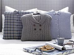 Turn Dad's old shirts and sweaters into pillows for a thoughtful Father's Day gift>> http://www.hgtv.com/holidays-and-entertaining/designer-looks-dad-will-love/pictures/page-3.html?soc=pinterest