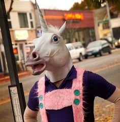 Love the pink and purple costume on this Unicorn out on the town look.