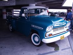 1959 Chevrolet Apache Coral blue/white. Bless the owner for keeping the stock rims...