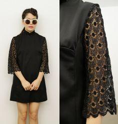 Vintage Black Turtle High Neck 3/4 Lace Sleeves Tunic Cocktail Mini Dress 8 10