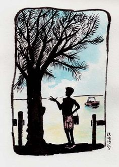 Silhouette des îles - Pereybere, Ile Maurice [ #DRAWING ] Island silhouette - Pereybere, #Mauritius http://www.lescarnets.fr/sketch.php?id=1180 #art #travel