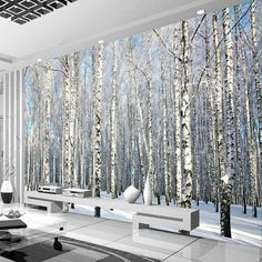 Cheap forest mural, Buy Quality wallpaper mural directly from China papel mural Suppliers: birch wallpaper mural papel mural for living room contact paper papel de parede para quarto wall papers home forest murals Birch Tree Mural, Birch Tree Wallpaper, Tree Wall Murals, Forest Wallpaper, Wood Wallpaper, Modern Wallpaper, Photo Wallpaper, Bedroom Wallpaper, Wallpaper Wallpapers