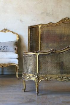 Exquisite Shabby Vintage Louis XV style Cane Bed in original gilt finish. FrenchGardenHouse
