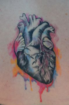 More watercolor heart. Would like to see the watercolor more splattery and messy with less detail and attention to the heart. Would also like to keep it in one or two of the same color families so as not to distract from the trogon holding it // by Justin Johnson at Seattle Ink & Oil.