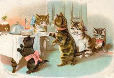 CATS GALORE Helena Maguire Coll ClarissaPrints and Photographs, Special Collections, Library of Virginia. cat pet Victorian scrapbook die cut vintage clip art free for personal use Vintage Christmas Cards, Christmas Cats, Beatrix Potter, Scrapbook Images, Fine Art Prints, Canvas Prints, Cat Cards, Poster Size Prints, Cats And Kittens