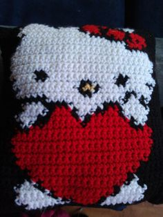 Hello Kitty Crochet Pillow