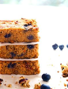 Breakfast Blueberry Carrot Cake Bars. Breakfast to go with fresh blueberry, granola, and carrot! Gluten free bars with a little extra protein boost.