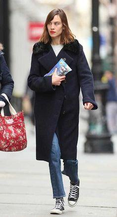 Alexa Chung rocks a red pout for a casual shopping trip in Manhattan