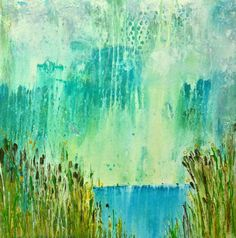 """Reeds by the Water"" 20x20 inch. ACRYLIC. This abstract landscapes uses drips, scratches and patterns to depict reeds framing out a calm view of the sea. . Published via ArtLoupe. #ABSTRACT #IMPRESSIONISTIC #LANDSCAPE"