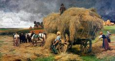 (France) Autumn harvest by Julien dupre Oil on canvas. Farm Paintings, Landscape Paintings, Carl Spitzweg, Barbizon School, Farm Art, Country Scenes, Oeuvre D'art, Country Life, Country Living