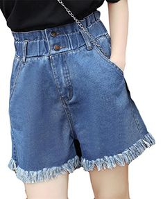 c327bbde4af Cromoncent Womens Summer High Waist Elastic Cut Off Pocket Wide Leg Denim  Shorts