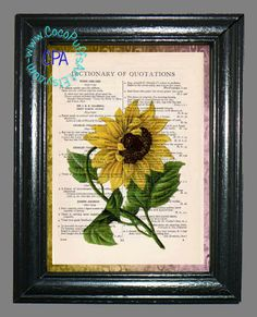 Bright Yellow Daisy with Green Leaves & Stem Art - Beautifully Upcycled Vintage Dictionary Page Book Art Print, Floral Print by CocoPuffsArt on Etsy