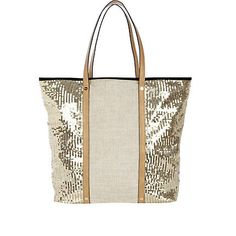 Soft jute with sequined trim beach bag
