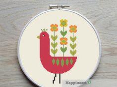 cross stitch pattern retro flowers chicken modern von Happinesst