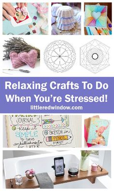This giant list of relaxing crafts and projects will give you something calming and soothing to work on when you're feeling stressed! Diy Craft Projects, Craft Tutorials, Crafts To Sell, Fun Crafts, Sewing Projects, Crafts For Kids, Paper Crafts, Creative Skills, Creative Crafts