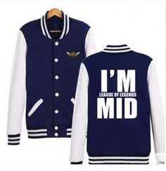 I am League of Legends MID baseball jackets for men plus size