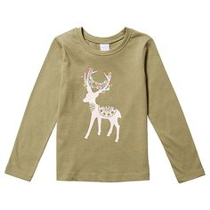 Girls' essentials Long Sleeve Deer Print Top