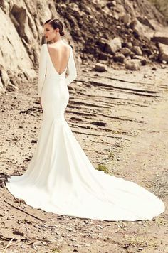 View Glamorous Long Sleeve Wedding Dress - Style from Mikaella Bridal. Crêpe gown with V-neck and long sleeves. Mermaid Wedding Dress With Sleeves, Plain Wedding Dress, Wedding Dress Buttons, Wedding Dress Train, Long Sleeve Wedding, Perfect Wedding Dress, Mermaid Dresses, Modest Wedding, Wedding Dressed With Sleeves