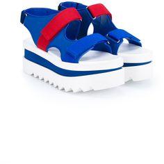 Stella Mccartney Velcro Wedge Sandals ($645) ❤ liked on Polyvore featuring shoes, sandals, stella mccartney sandals, flatform shoes, velcro strap shoes, flatform wedge sandals and velcro closure shoes
