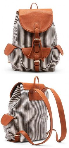 Navy & white striped fabric backpack with front & side pockets