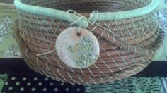 Mint Green Coiled Pine Needle Basket by littleshopofmagpies, $75.00 #basket