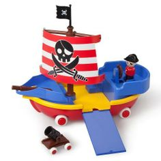 Viking Toys Pirate Ship by International Playthings. $39.99. From the Manufacturer                Viking Toys are perfect first vehicles for children 12 months and up. They're sized just right for little hands, and their smooth soft edges are safe for teething toddlers. Plus, they're dishwasher safe. Chubbies white wheels won't mark furniture or floors. Viking Toys' bright, eye-catching primary colors and emphasis on form and function encourage imaginations.                ...