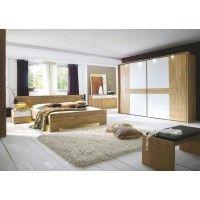 Schlafzimmer Mit Bett 180 X 200 Cm Wildeiche Natur Teilmassiv/ Glas Matt  Kristallweiss Woody 125