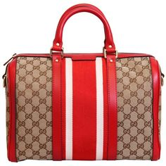 Gucci Red/Beige Guccissima Print Borsa Bag ($1,090) ❤ liked on Polyvore