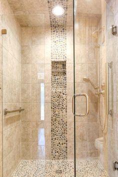 Pebble Tile Shower Floor, Shower Accent Tile, Mosaic Shower Tile, Stone Shower, Shower Tile Designs, Bath Tiles, Pebble Tiles, Pebble Stone, Bathroom Interior