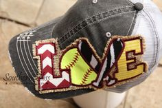 Items similar to Shabby Chic, Embroidery patch Softball LOVE, Burlap, bling embellished, Maroon, yellow (gold) Gray distressed Trucker mesh back hat on Etsy