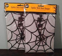 2 Two NEW Black Spider Web Skeleton Halloween Decor Door Window Hanger Reuseable #Unbranded