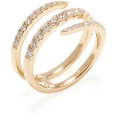 Nephora Women's 0.80 Total Ct. Pave Diamond & 14K Yellow Gold Wrap Around Ring - White, Size 6.5