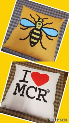 I ❤MCR and Manchester Bee cushions.  https://www.facebook.com/vintagesewingsolutions/