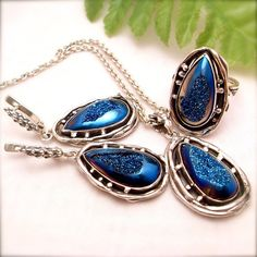 Blue Quartz Ring Earrings Pendant Set Druzy drusy Ring by Izovella, $389.00
