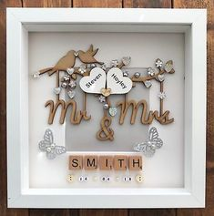 Details about Handmade Personalised Wedding Day Box Frame Keepsake Gift Mr & Mrs – Wedding Gifts 3d Box Frames, Box Frame Art, Shadow Box Frames, Wedding Boxes, Wedding Frames, Shadow Box Wedding, Handmade Wedding Gifts, Personalized Wedding Gifts, Personalised Frames