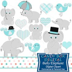 Boy Baby Elephant Clipart by Candy Box Digital. Cute animal clip art, great for baby shower invitations - Candy Box Digital Elephant Party, Elephant Birthday, Elephant Baby Showers, Baby Elephant, Elephant Stuff, Elephant Theme, Baby Shower Niño, Best Baby Shower Gifts, Boys First Birthday Cake
