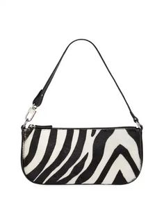 By Far Rachel Zebra Calf Hair Shoulder Bag - Bergdorf Goodman Leather Pouch, Calf Leather, Leather Shoulder Bag, Tod Bag, Brand Name Bags, Rest, Small Shoulder Bag, Little Bag, Cute Bags