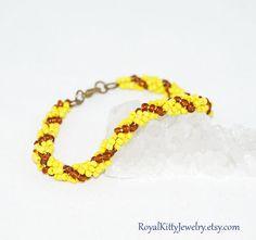 Yellow Spiral bracelet Twisted Bead Bracelet by RoyalKittyJewelry Handmade Jewelry, Unique Jewelry, Handmade Gifts, Spiral, Beaded Bracelets, Beads, Trending Outfits, Yellow, Stuff To Buy