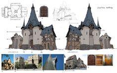 花瓣网-art, Red Hong : Project nat concept art by Red Hong on ArtStation. Fantasy Landscape, Fantasy Art, Paint Photoshop, Buildings Artwork, Medieval Houses, Building Concept, Fantasy Places, Prop Design, Environment Concept Art