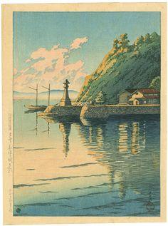 Morning at Mihogaseki (Izumo Province [Izumo Mihogaseki], Japan), 1925, by Kawase Hasui  (Japanese, 1883–1957).